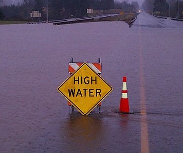 High Water Warning Sign