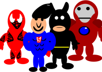 Cartoon drawing of superheroes
