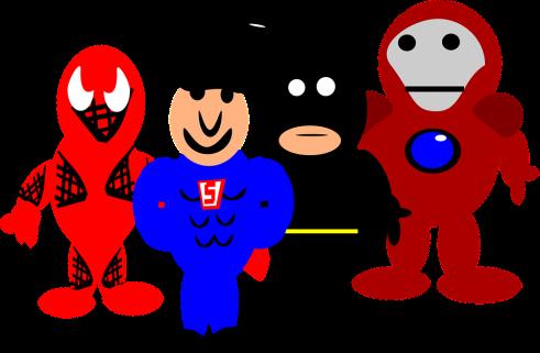 Cartoon drawing of superheroes