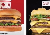 In-N-Out Double Double burger next to Smashburger Triple Double burger